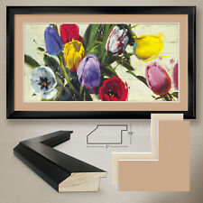 """44W""""x26H"""": SPRING N.13 by ANTONIO MASSA - FLORAL - DOUBLE MATTE, GLASS and FRAME"""