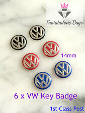 6 x VW Remote Key Fob Badge Emblem Sticker Logo Replacement 14mm red blue black
