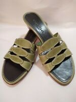 """Cole Haan Women's Size 5 1/5 Olive Green Leather 2"""" Heels Mule Sandals Shoes"""