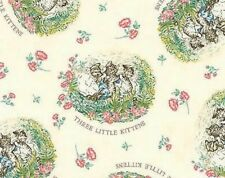 Beatrix Potter Fabric 3 Little Kittens Cotton Quilting Nursery White - BTY