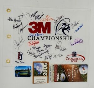 3M Championship TPC 2006 Golf Tournament Flag Signed Mickelson Etc ...