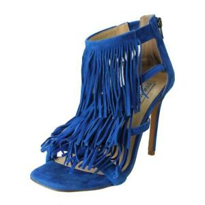Steve Madden Womens FRINGLY Blue Suede Heels Sandals 8.5 Medium (B,M) BHFO 1844