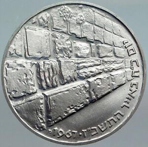1967 ISRAEL IDF 6 Day War Wailing Wall OLD Jerusalem Silver 10 Lirot Coin i88014