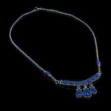 PETITE .925 Sterling Silver Natural Blue Denim Lapis Drop Chain Necklace