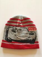 Disney Cars Boys Beanie Hat Stocking Cap Ages 4-7 Red-Gray GO95 Striped Q608A