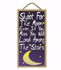 """Blue Shoot For The Moon Kids Nursery Baby Room SIGN 10"""" X 5"""""""