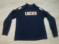 VINTAGE Lucky Brand Men's Sweatshirt Size XL Blue Stitched On Patches Pull Over