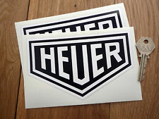 HEUER Black and White racing car stickers 6in 150mm Vintage Retro Custom Hot Rod