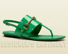 GUCCI Jasmine green 35.5 Patent Leather URSULA thong HORSEBIT sandals NIB Authen