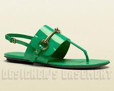 GUCCI Jasmine green 35.5 Patent Leather URSULA thong HORSEBIT sandals NIB Authen
