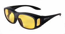 NIGHT DRIVING OVER GLASSES SUNGLASSES Anti glare Lenses, That Fit / Cover Specs
