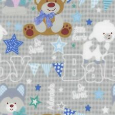 Fabric Baby Animals So Sweet on Grey EESCO Flannel  1/4 yard 86817