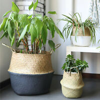 Seagrass Belly Basket Dipped Black Grey Storage Holder Plant Pot Bag Home Decor