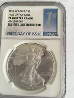 """2017 W SILVER EAGLE WEST POINT MINT  PROOF PF 70 ULTRA CAMEO """"FIRST DAY OF ISSUE"""