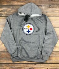 NFL Pittsburgh Steelers Embroidered Pullover Fleece Lined Hoodie Clor Gray Men M