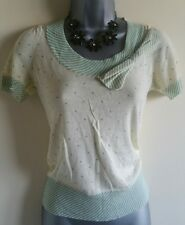 Size 6 Top H&M Yellow Green Soft Thin Knit Fitted Stretch Women's Casual