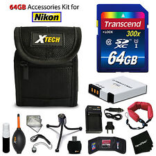 64GB ACCESSORIES Kit for Nikon Coolpix S6300 w/ 64GB Memory + Battery + Case