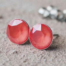 NUOVO Titanio Orecchini a bottone con 8mm swarovski pietre in Light Coral/korall/rosso orecchini
