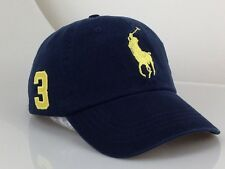 Polo Cap With Fine Embroidery Small Pony 3 Logo Adjustable Blue Hat Baseball