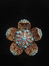 Vintage Turquoise Rhinestone Filigree Flower Gold Tone Brooch Pin