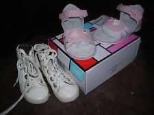 Lot chaussures 24 fille sandales NEUVES INT CUIR + BASKETS TBE