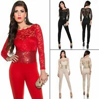 Women's Skinny Leg Lace Bodice Banded Sequin Waist Jumpsuit Overall - S/M/L