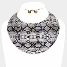 LUXE Statement Gold Curved Leather Snake Cuff Choker Necklace Set Rocks Boutique