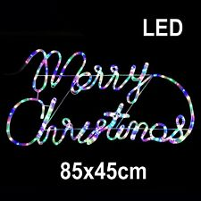 Merry Christmas Motif Sign LED Rope Light Multi-colour Indoor Outdoor Xmas 85x48