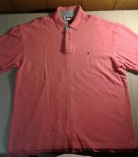 Rare Vintage TOMMY HILFIGER Small Color Block Flag Polo Shirt 90s Bright Pink L