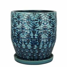 12 in. Dia Blue Rivage Durable Hand-Crafted Ceramic Planter Round Decorative Pot