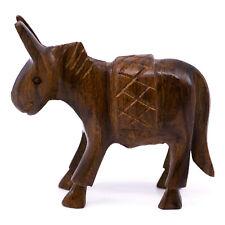 "Unique Hand Carved Mini Ironwood Donkey Burro Mule Figurine Wood Carving 2"" High"