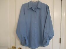 Foxcroft sz 14 wrinkle free blue cotton blend long sleeve w/pocket Ex.