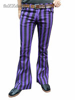 Mens Purple Black Striped Bell Bottoms Flares Hippie vtg Indie Trousers 60's 70s