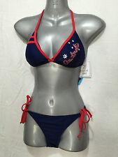 BNWT Ladies Sz 8 Wavezone Brand Navy Blue Aussie Print Bikini Swim Suit Set