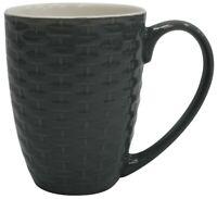 Set of 4 New Bone China Large Rattan Style Coffee Mugs Grey 340ml Capacity