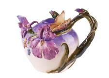 Bella Violet BUTTERFLY & IRIS Hand-Painted Ceramic Teapot, by Blue Sky Ceramics