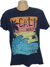 Mens T shirt blue top Cali beach palm tree beach stylish Tee 100% cotton size Me