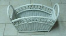 Wicker Magazine Basket White Vintage Chic (Np) Not Perfect 13 X 17 X 6""
