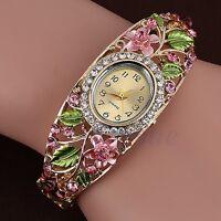Hot Women Fashion Bangle Bracelet Bling Crystal Flower Analog Quartz Wrist Watch