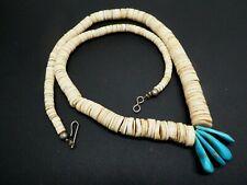 "Vintage Santo Domingo Blue Turquoise Shell Heishi 925 Graduated Necklace 18.5"""