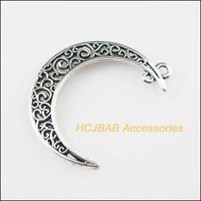 6Pcs Tibetan Silver Tone Flower Moon Charms Pendants 30x40mm