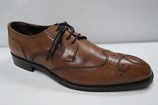 JOHNSTON & MURPHY CARLOCK WINGTIP Oxfords 8.5 D Cognac Burnished Leather