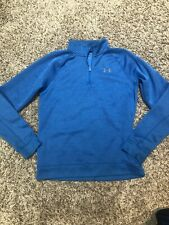 Under Armour Boys Youth Blue L 1/4 Zip-up Training Top Shirt Cold gear Sweater