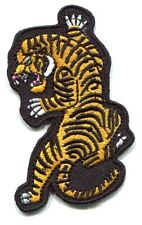 TIGER stalking on black background EMBROIDERED IRON-ON PATCH Free Shipping 19544