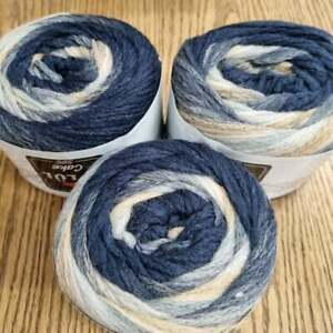 Ombre Aran / chunky Yarn Cakes 3 x 150g, wool acrylic blend, navy, cream, beige