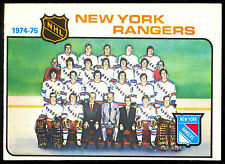 1975 76 OPC O PEE CHEE HOCKEY #94 N Y RANGERS TEAM CARD NM UNMARKED CHECKLIST