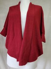 Eileen Fisher Open Front Cardigan Sweater Sz PS S Thin Knit 100% Wool Burgundy