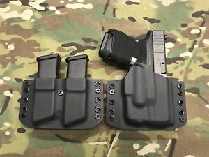 Black Kydex Holster for Glock 26 27 Streamlight TLR-6 w/ Dual Mag Carrier