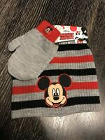 Walt Disney Mickey Mouse  Hat Cap and gloves set  Beanie ages 2-7