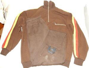 Trainingsanzug braun gelbrote Streifen Gr. 52 Oldschool original DDR NVA ASV ASK